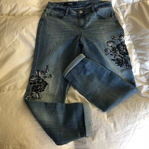 Simply Vera Wang Distressed Appliqué Blue Jeans